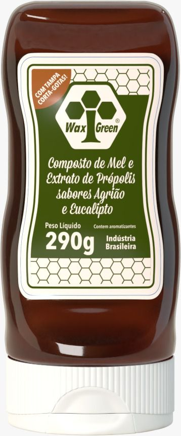 Composto de Mel e Extrato de Própolis, sabores Agrião e Eucalipto - 290g  - WAXGREE - GREENLIFE