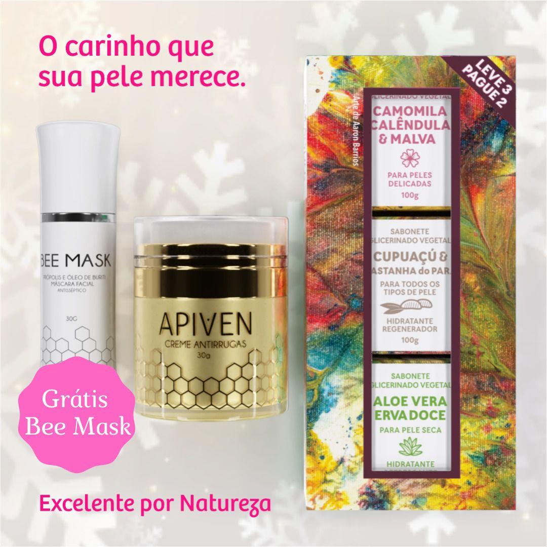 Kit de Cosméticos Feminino, 1 Apiven, 1 kit de sabonete feminino, grátis 1 Bee Mask  - WAXGREEN - GREENLIFE