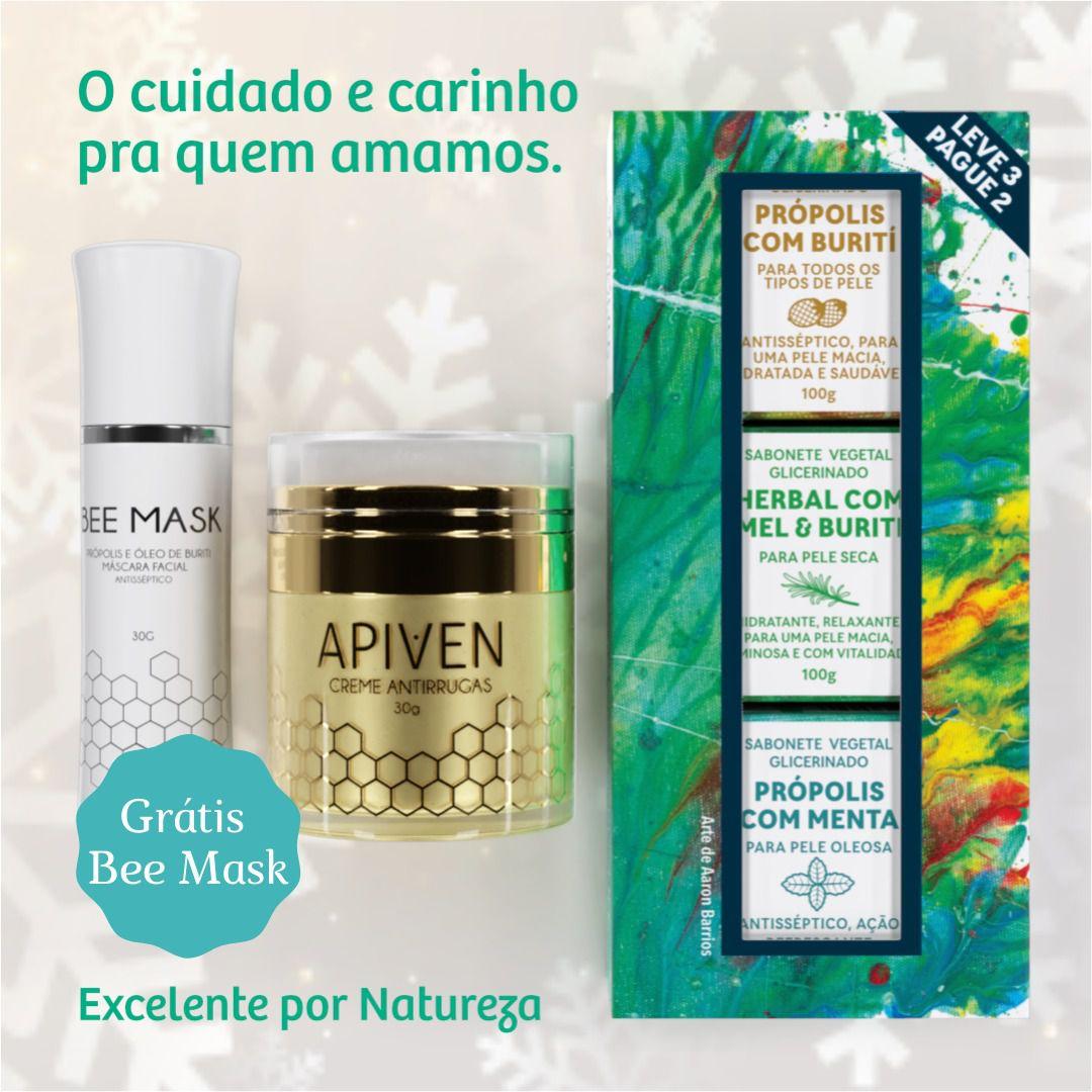 Kit Cosméticos Masculino, 1 Apiven, 1 kit de sabonete Masculino, grátis 1 Bee Mask  - WAXGREE - GREENLIFE