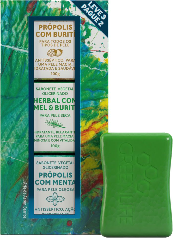 Kit de Sabonetes - Presente Masculino - Leve 3 Pague 2  - WAXGREEN - GREENLIFE
