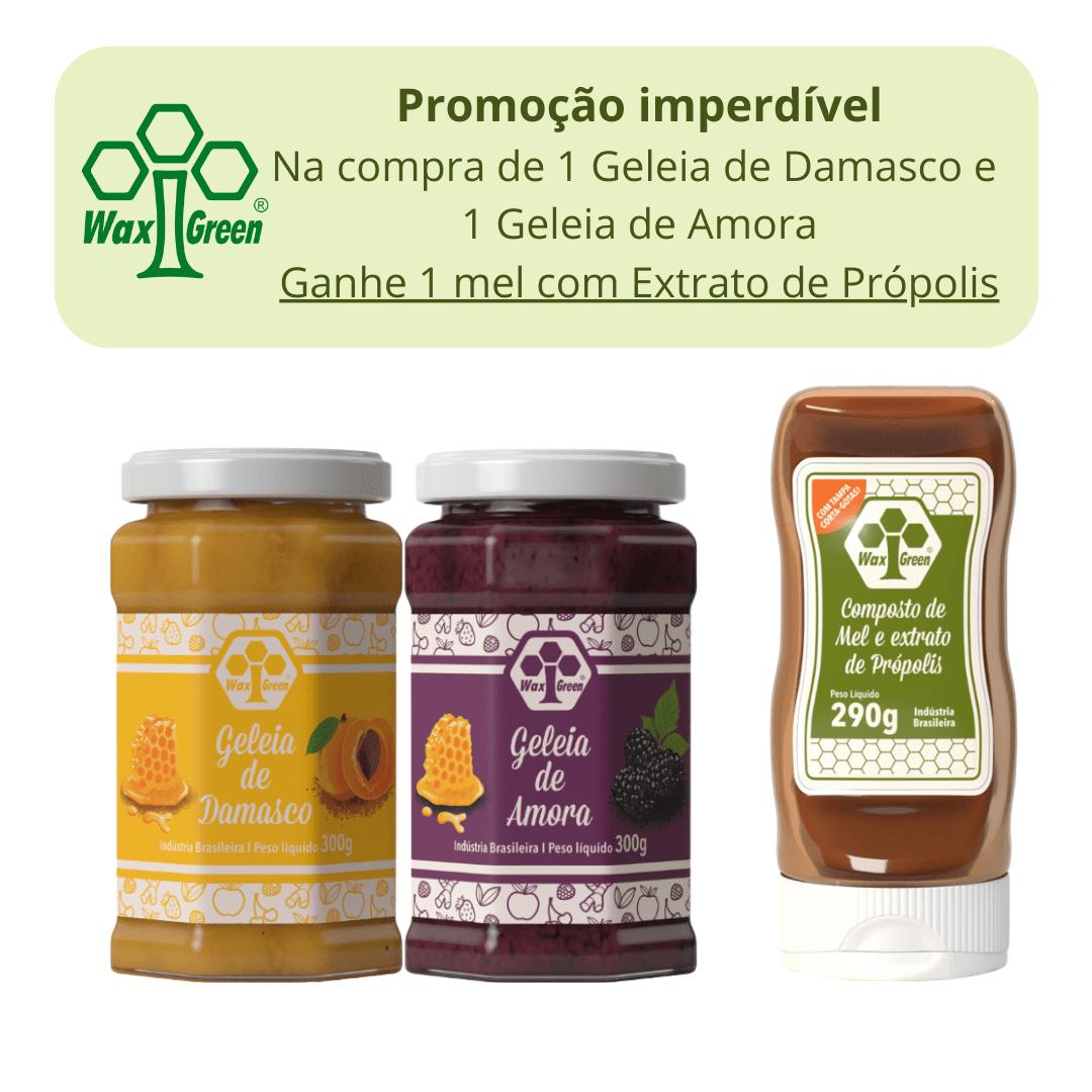 Kit Promocional compre 2 Geleias e Ganhei 1 mel com Própolis  - WAXGREEN - GREENLIFE