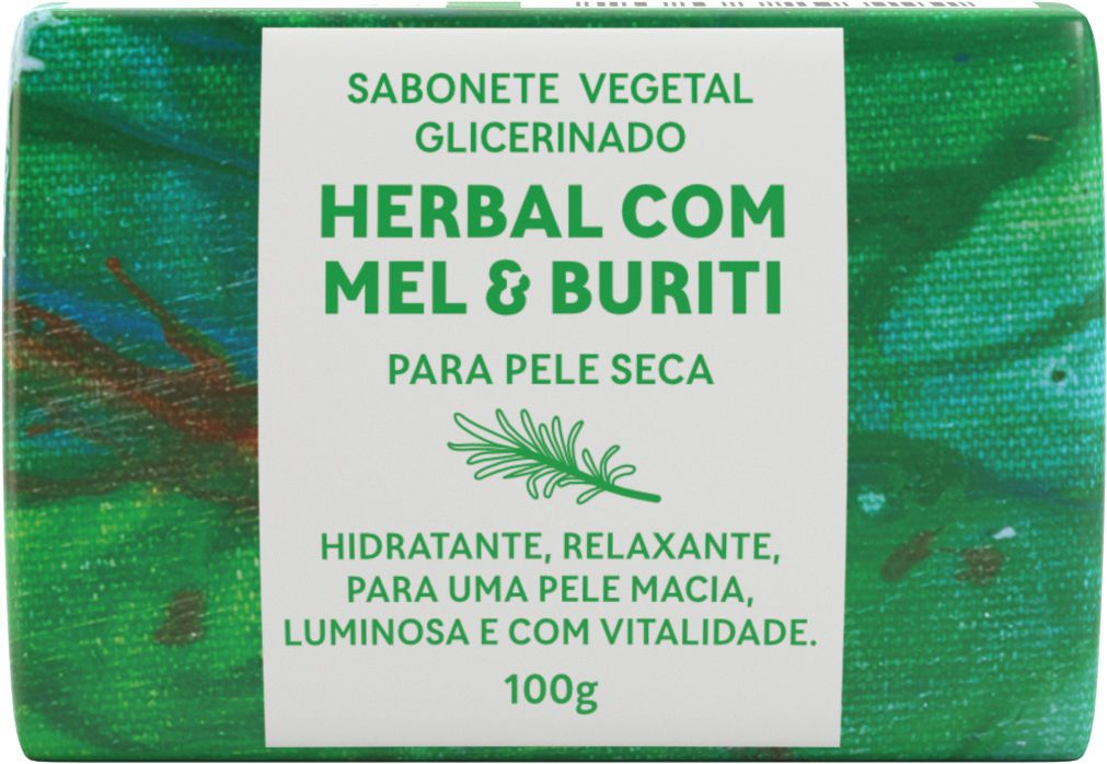 Sabonete Vegetal Glicerinado - Herbal com Mel e Buriti 100g - Green Life  - WAXGREEN - GREENLIFE