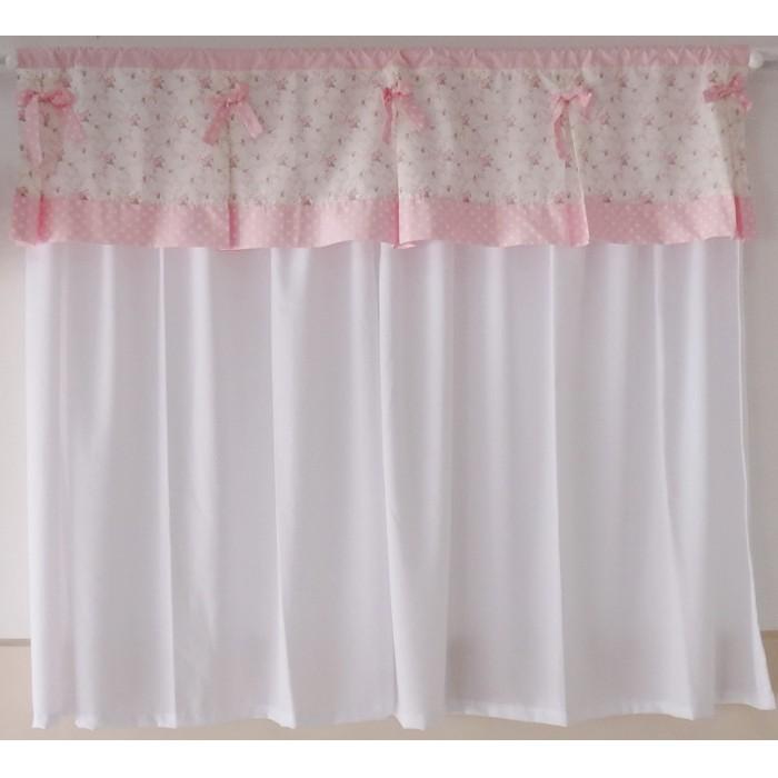 Cortina sarah rosa beb com branco suave sonho decora es - Cortinas para bebes nina ...