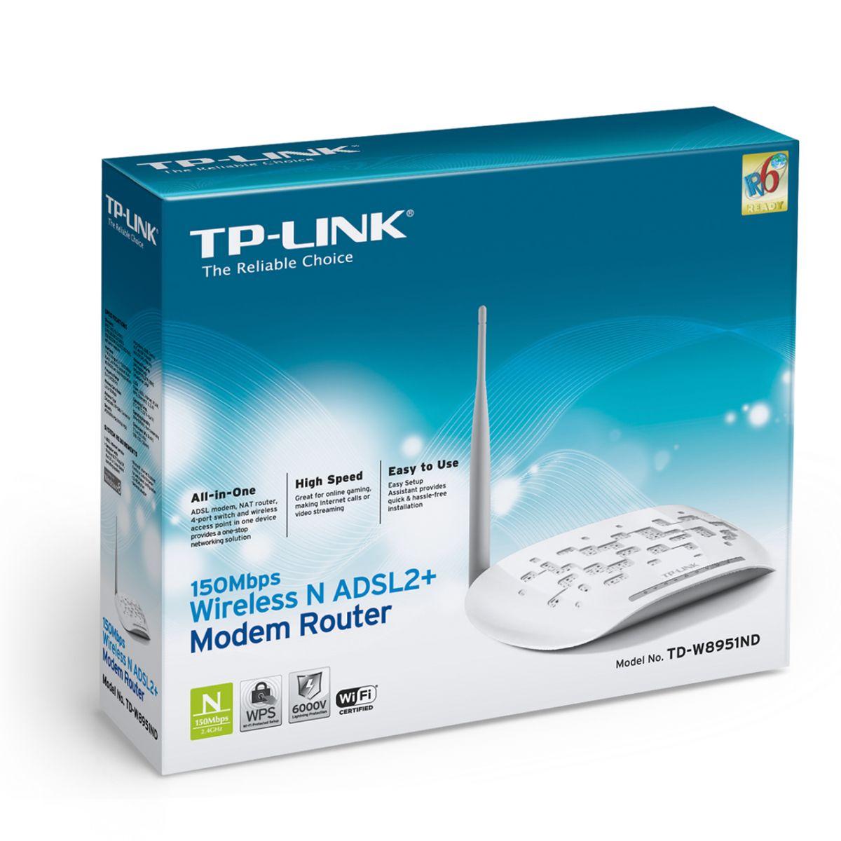 Modem TP-Link Wireless ADSL2+ N 150Mbps TD-W8951ND  - ShopNoroeste.com.br
