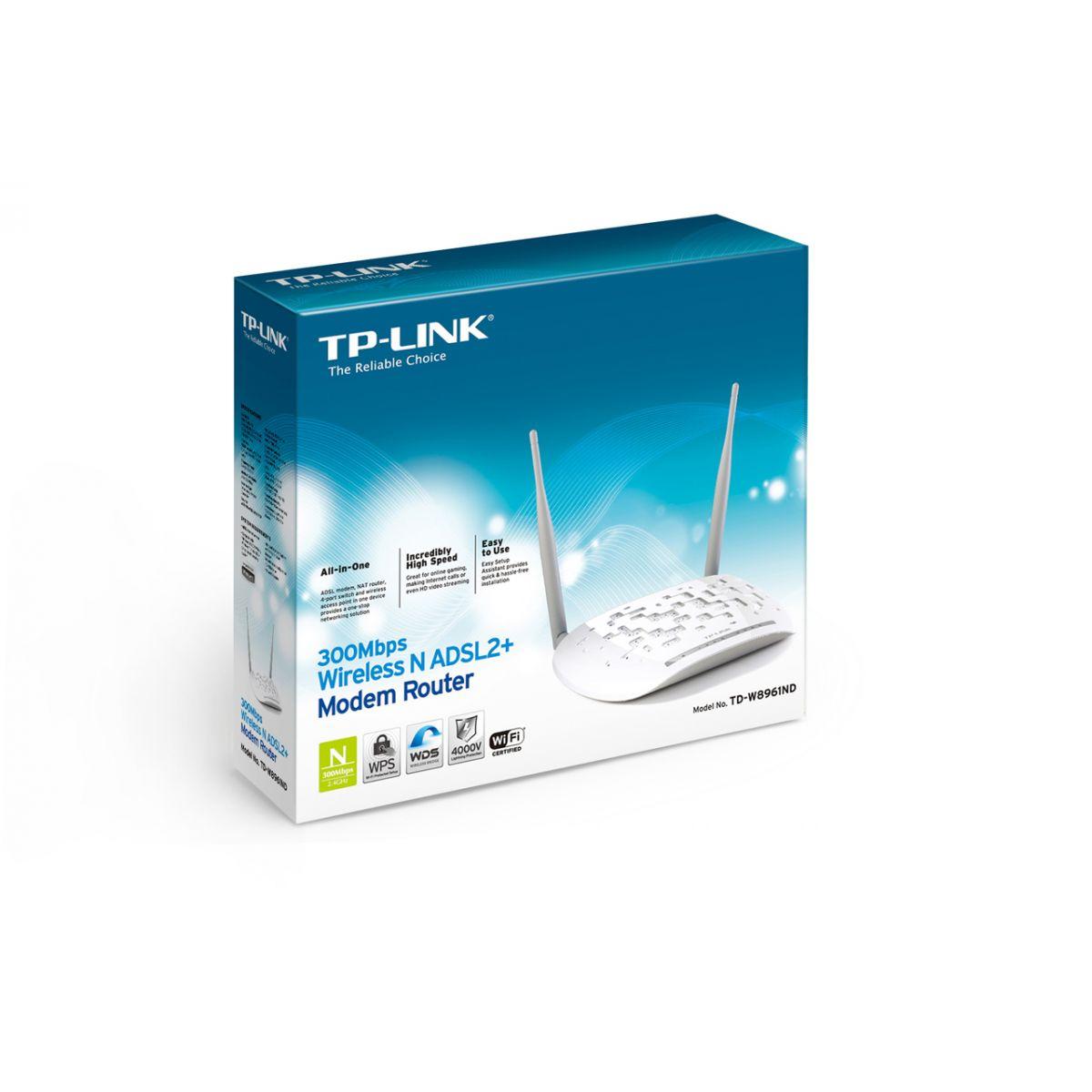 Modem TP-Link Wireless ADSL2+ N 300Mbps TD-W8961ND  - ShopNoroeste.com.br