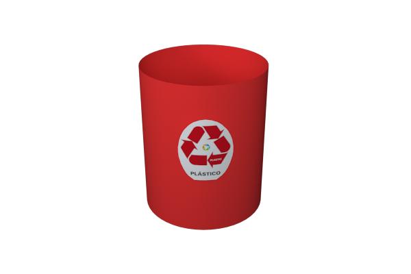 Cesto Coleta Seletiva Plástico Só Lixeiras 11 Litros Vermelha  - ShopNoroeste.com.br