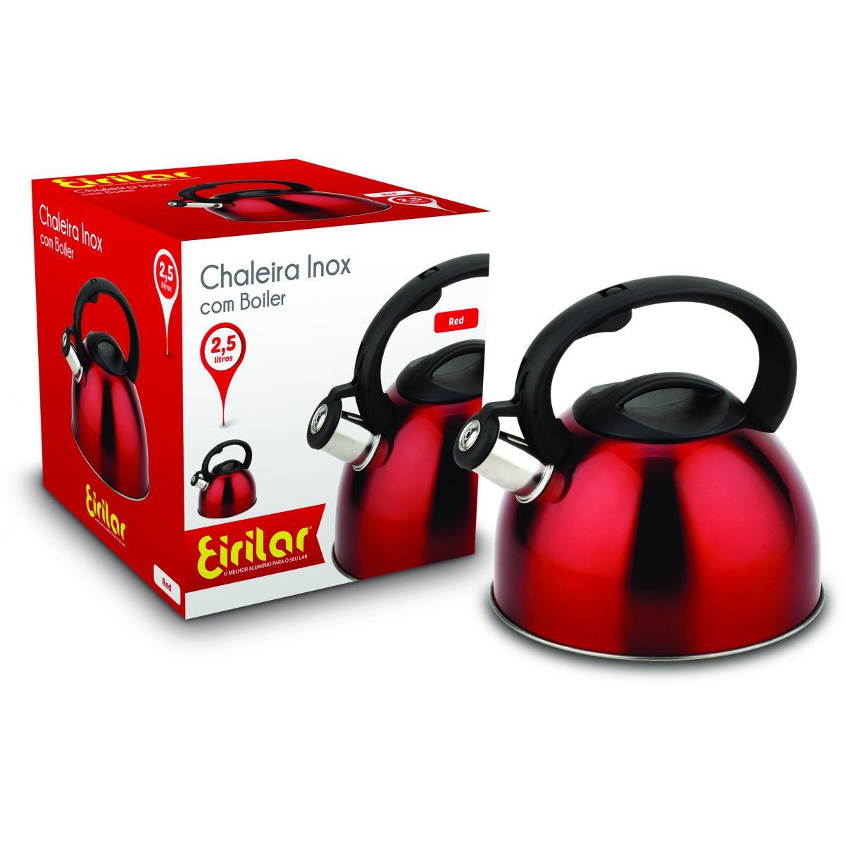 Chaleira Inox com Apito Eirilar 2,5 litros Vermelha  - ShopNoroeste.com.br