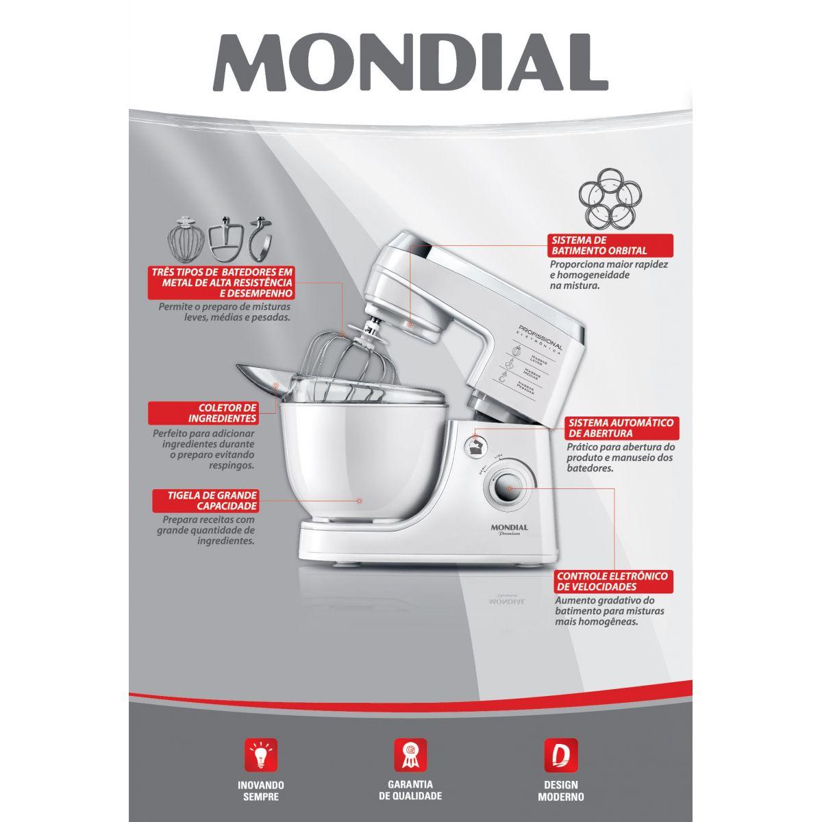 Batedeira Profissional Eletrônica B-14 Premium White 127V - Mondial  - ShopNoroeste.com.br