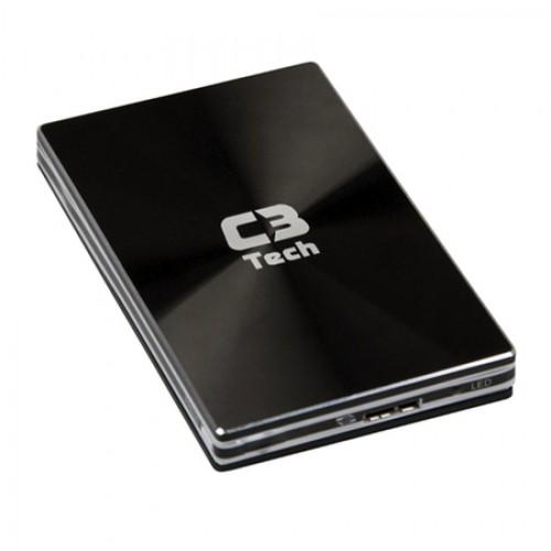 Case C3tech para HD de 2,5 Polegadas USB 3.0 CH-4250 Preta  - ShopNoroeste.com.br