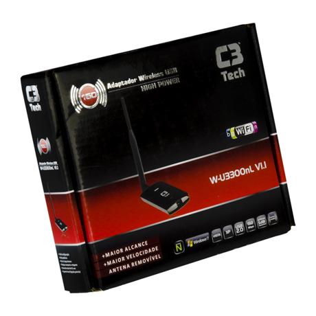 Adaptador de Rede C3 tech sem Fio USB com antena 600MW W-U3300NL  - ShopNoroeste.com.br