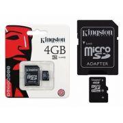 Cartão de Memoria 4GB microSDHC com Adaptador SD (classe10) - SDC10/4GB Kingston