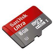 Cartão de Memória SanDisk 8GB Ultra MicroSDHC (Classe10) Card + adapter for Android (SDSDQUAN-008G-G4 T)