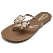 Sandália Rasteira Rasteka Super Confortável - Laço Creme e Dourado, Solado Bege e Tiras Creme