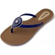 Sandália Rasteira Rasteka Super Confortável - Gota Azul com Prata, Solado Bege e Tiras Azuis