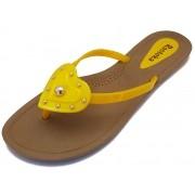 Sandália Rasteira Rasteka Super Confortável - Coração Amarelo com Prata, Solado Bege e Tiras Amarelas