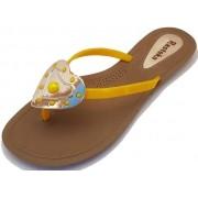 Sandália Rasteira Rasteka Super Confortável - Coração Amarelo com Dourado, Solado Bege e Tiras Amarelas