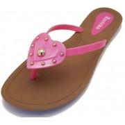 Sandália Rasteira Rasteka Super Confortável - Coração Rosa com Dourado, Solado Bege e Tiras Rosas
