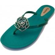 Sandália Rasteira Rasteka Super Confortável Verde Flor Verde e Prata