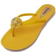 Sandália Rasteira Rasteka Super Confortável Amarela Flor Amarela e Prata