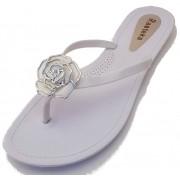 Sandália Rasteira Rasteka Super Confortável Branca Flor Branca e Prata