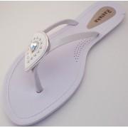 Sandália Rasteira Rasteka Super Confortável  Branca Gota Branca com Prata