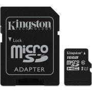 Cartão de Memória Kingston Classe 10 SDCS-16GB MicroSDHC 80 mpbs