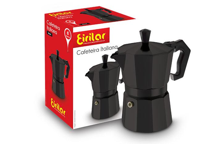 Cafeteira Italiana Black 6 Xícaras - Eirilar  - ShopNoroeste.com.br