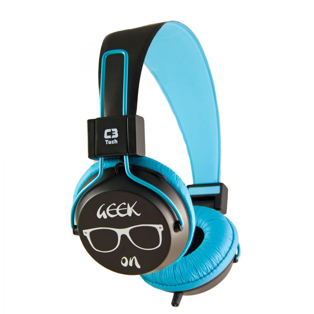 Fone de Ouvido Headset Multimídia Preto/Azul C3 Tech - MI-2358RL  - ShopNoroeste.com.br