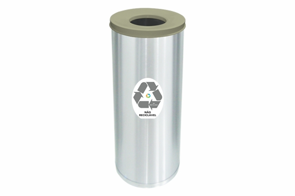 Lixeira Inox Com Abertura Superior 32 Litros Não Reciclavel Cinza - Só Lixeiras  - ShopNoroeste.com.br