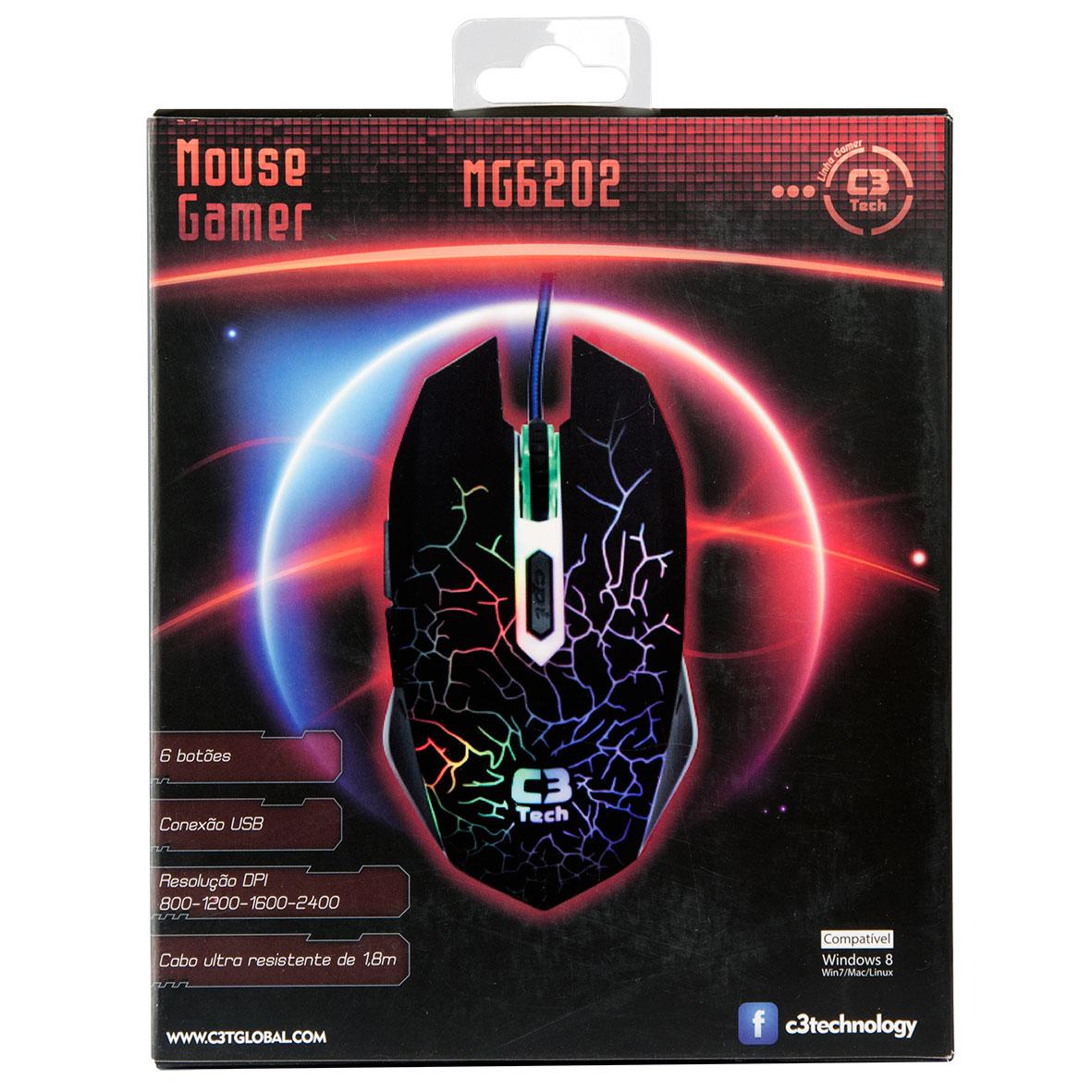 Mouse Gamer Óptico USB 6 Botões MG6202 BK 2400DPI - C3 Tech  - ShopNoroeste.com.br