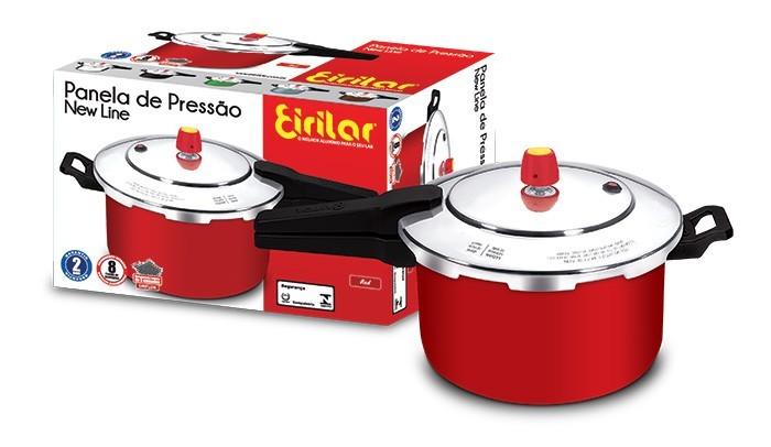 Panela de Pressão Fechamento Externo Antiaderente New Line Red 5 Litros - Eirilar  - ShopNoroeste.com.br