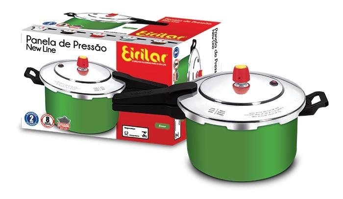 Panela de Pressão Fechamento Externo Antiaderente New Line Green 5 Litros - Eirilar  - ShopNoroeste.com.br
