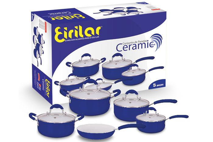 Conjunto de Panelas Ceramic Blue 3mm 5 Peças - Eirilar  - ShopNoroeste.com.br