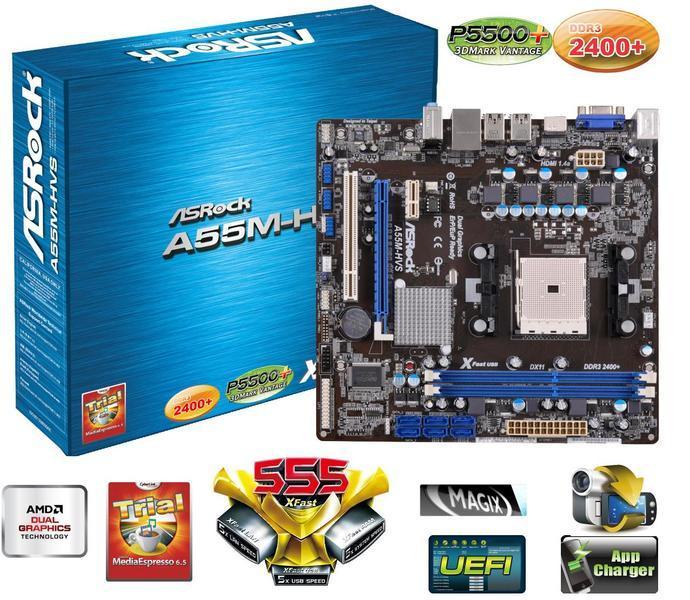Placa Mãe AsRock A55M-HVS FM1 A6/A8,16GB,DDR3,SATA,D-SUB,HDMI  - ShopNoroeste.com.br