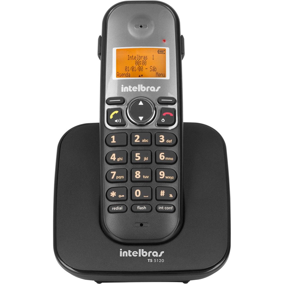 Telefone sem Fio Digital Intelbras com Identificador de Chamadas e Display Iluminado TS 5120 Preto  - ShopNoroeste.com.br