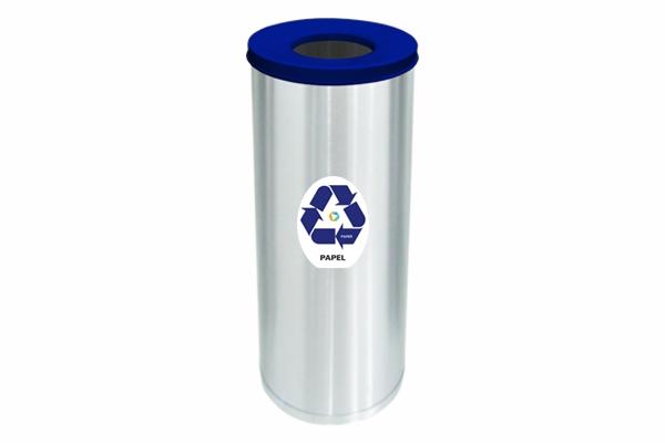 Lixeira Inox Com Abertura Superior 32 Litros Papel Azul - Só Lixeiras  - ShopNoroeste.com.br
