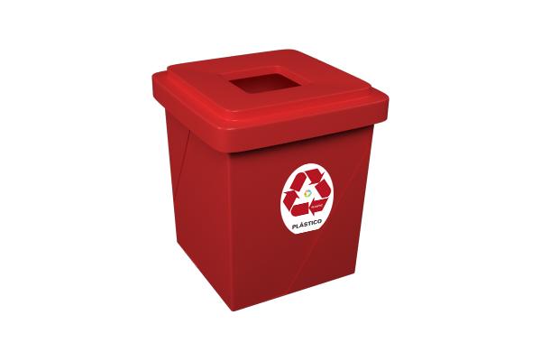Lixeira Com Abertura Superior 52 Litros Plástico Vermelho - Só Lixeiras  - ShopNoroeste.com.br