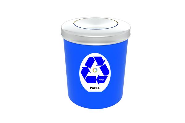 Lixeira com Tampa Vai e Vem Inox Coleta Seletiva Papel 11 Litros Azul - Só Lixeiras  - ShopNoroeste.com.br
