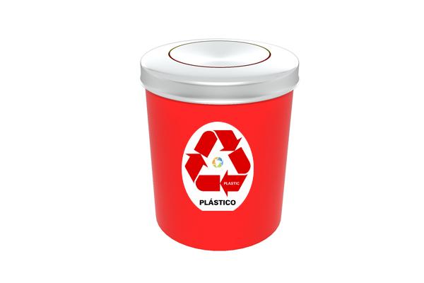 Lixeira com Tampa Vai e Vem Inox Coleta Seletiva Plástico 11 Litros Vermelho - Só Lixeiras  - ShopNoroeste.com.br