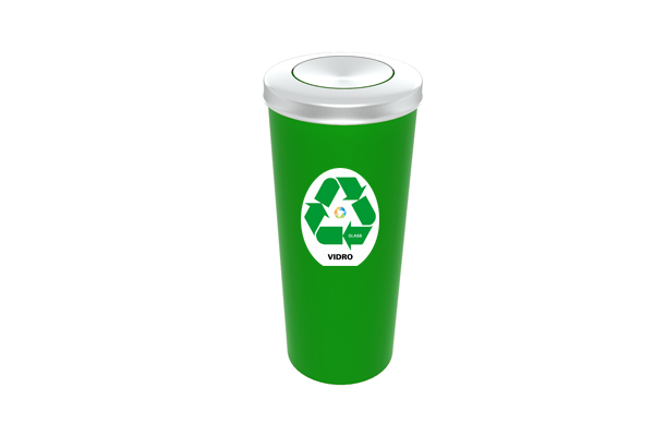 Lixeira com Tampa Vai e Vem Inox Coleta Seletiva Vidro 20 Litros Verde - Só Lixeiras  - ShopNoroeste.com.br