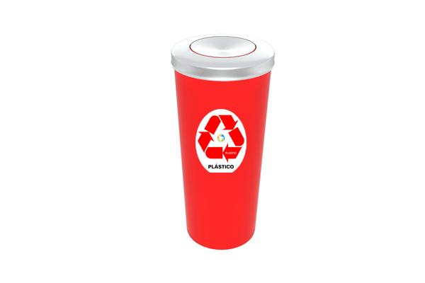 Lixeira com Tampa Vai e Vem Inox Coleta Seletiva Plástico 20 Litros Vermelho - Só Lixeiras  - ShopNoroeste.com.br