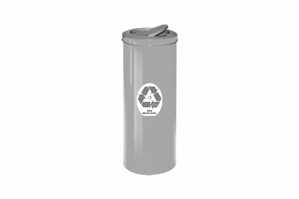 Lixeira com Tampa Vai e Vem em Aço Carbono Coleta Seletiva Não Reciclável 19,5L - Só Lixeiras  - ShopNoroeste.com.br