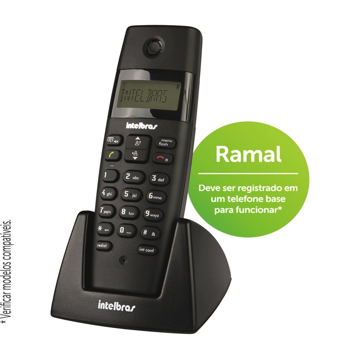 Ramal Sem Fio Intelbras TS 40 R Preto - Para Bases TS 40 ID, TS 60 V, TS 3110 ou TS 3130  - ShopNoroeste.com.br