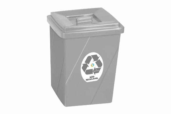 Lixeira Seletiva com Tampa 52 Litros Retangular para Não Reciclável - Só Lixeiras  - ShopNoroeste.com.br