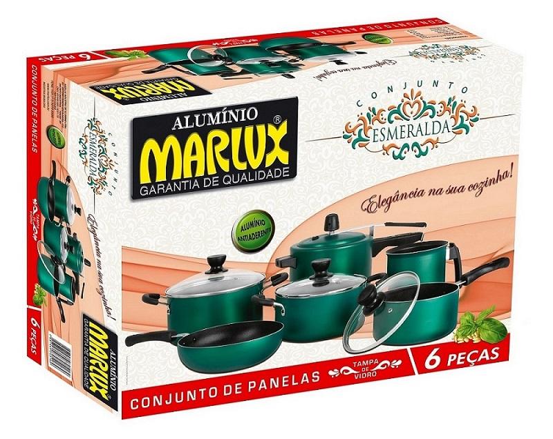 Jogo de Panelas 6 Peças Antiaderente Esmeralda - Marlux  - ShopNoroeste.com.br