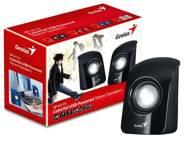 Caixa de Som Genius USB SP-U115 Preta 31731006111  - ShopNoroeste.com.br