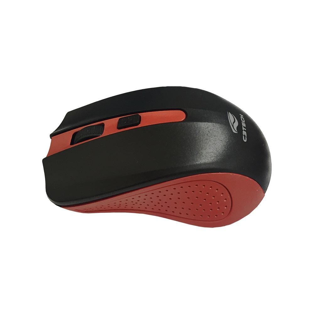 Mouse Sem Fio C3 Tech Wireless Vermelho M-W20RD RC Nano  - ShopNoroeste.com.br