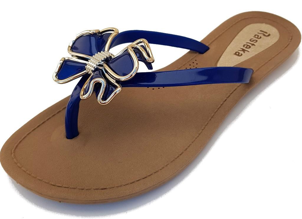 Sandália Rasteira Rasteka Super Confortável - Laço Azul Bic e Dourado, Solado Bege e Tiras Azul Bic  - ShopNoroeste.com.br