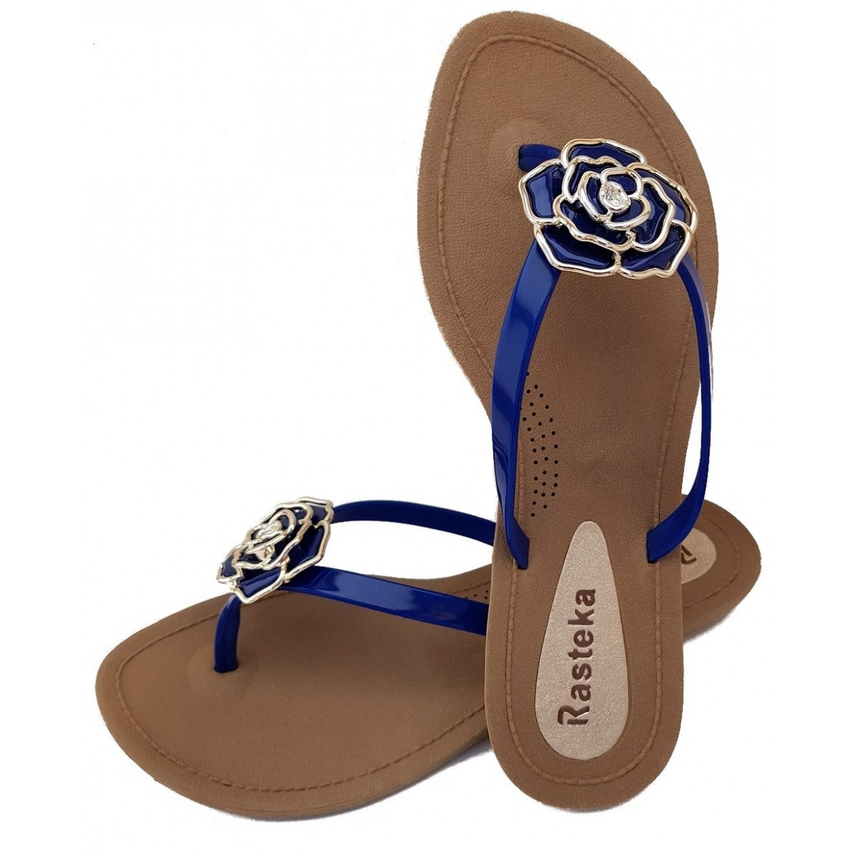 Sandália Rasteira Rasteka Super Confortável - Flor Azul e Prata, Solado Bege e Tiras Azuis  - ShopNoroeste.com.br