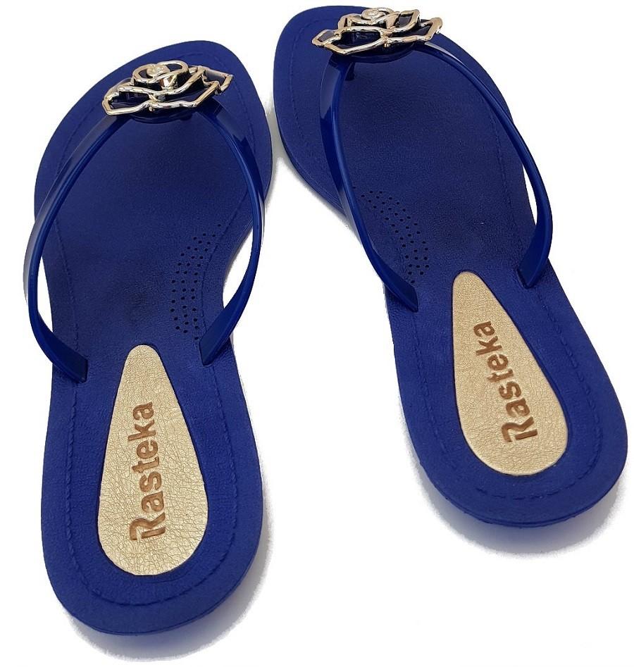 Sandália Rasteira Rasteka Super Confortável Azul Flor Azul e Prata  - ShopNoroeste.com.br